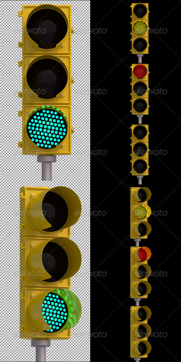 2 Traffic Light Renders - Objects 3D Renders