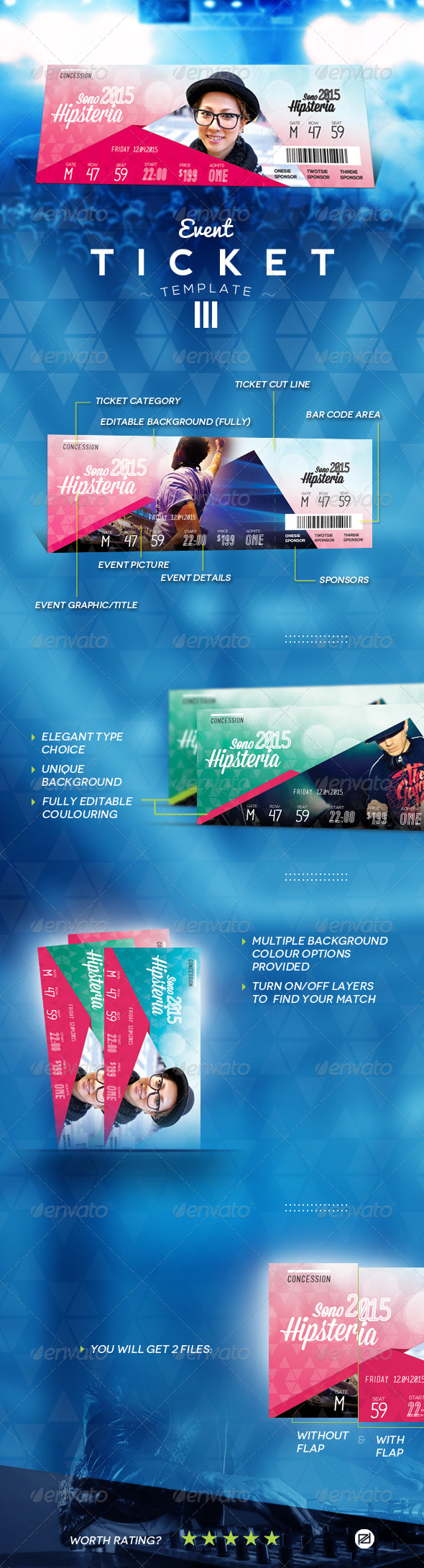 Event Ticket Template III - Miscellaneous Print Templates