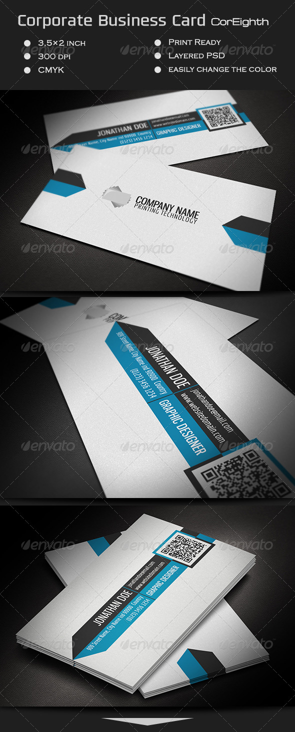 Corporate Business Card CorEighth - Corporate Business Cards