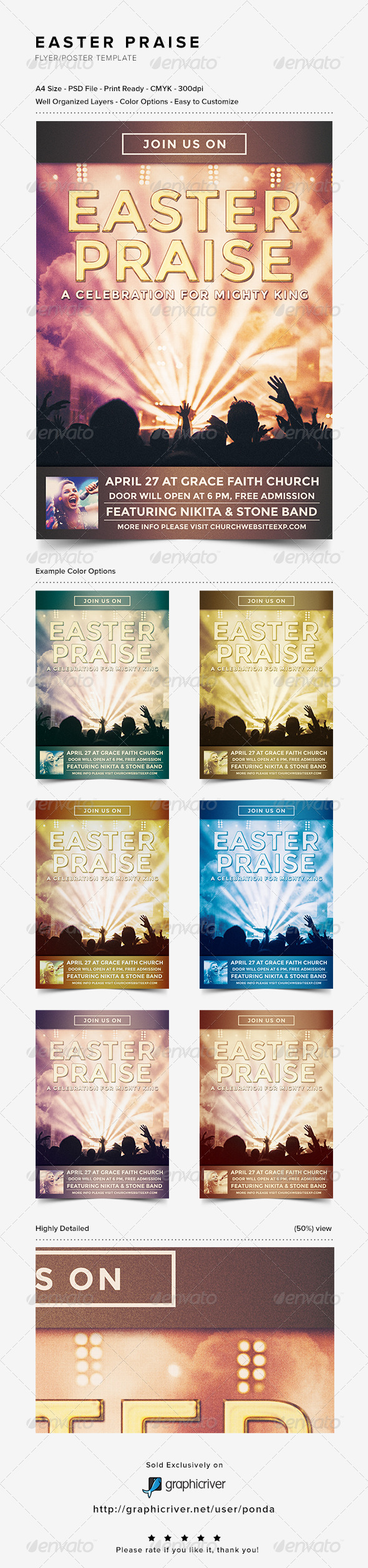 Easter Praise Flyer/Poster Template - Church Flyers