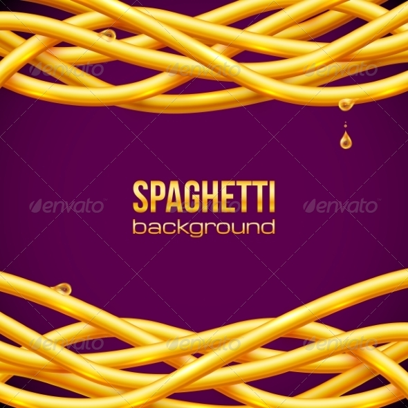 Vector Oily Spaghetti Frame - Food Objects