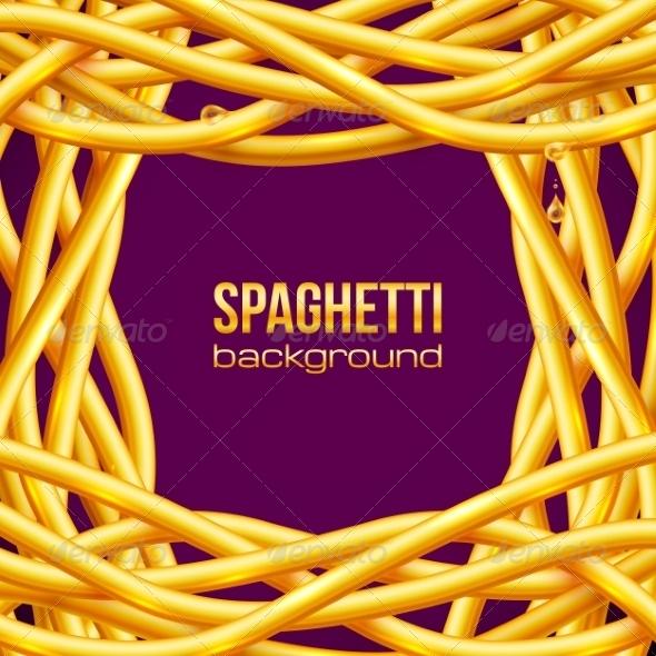Vector Oily Spaghetti Frame - Food Objects