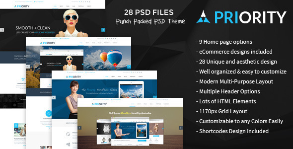 Priority | Multi-Purpose PSD Template - Corporate PSD Templates