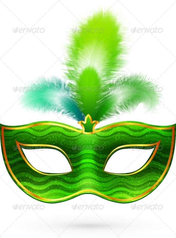 Green Carnival Mask with Feathers - Miscellaneous Seasons/Holidays