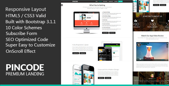 PinCode - Premium Landing Page HTML5 Template - Landing Pages Marketing