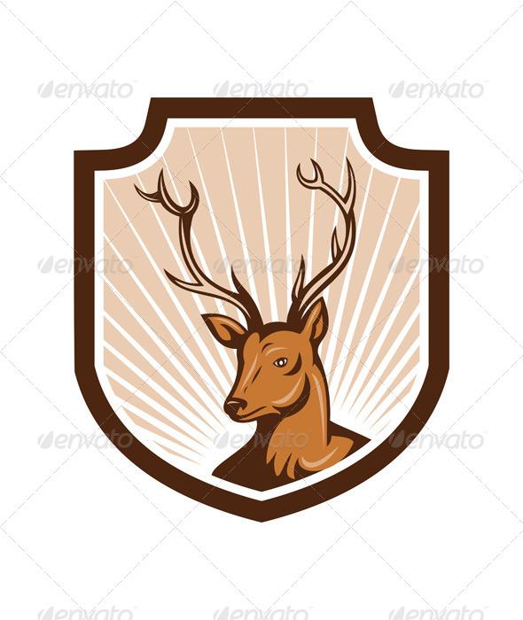 Deer Stag Buck Antler Head Shield - Animals Characters