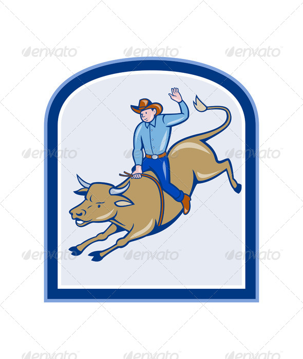 Rodeo Cowboy Bull Riding Cartoon - People Characters