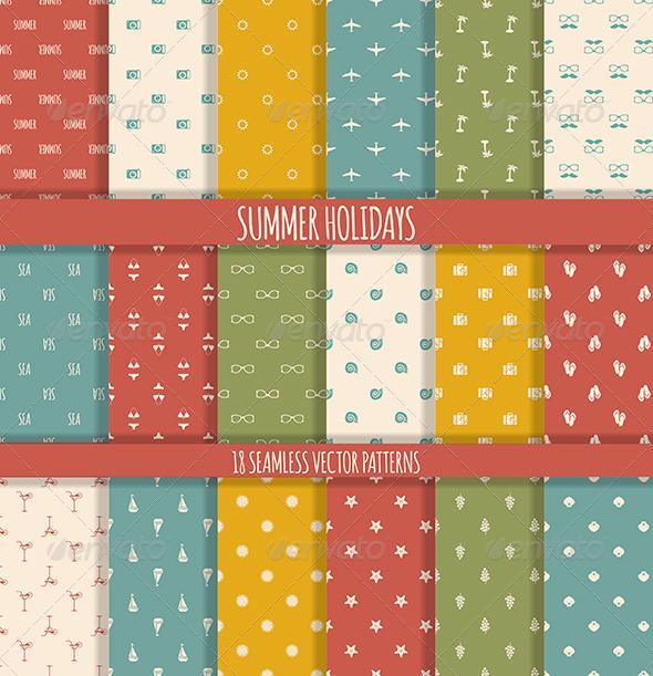 18 Summer Seamless Patterns - Patterns Decorative