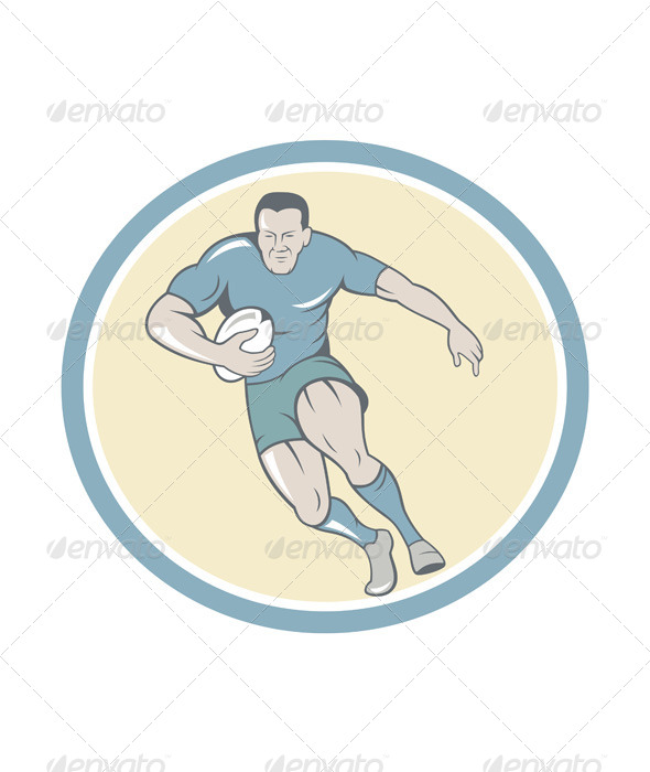 Rugby Player Running Ball Circle Cartoon - Sports/Activity Conceptual