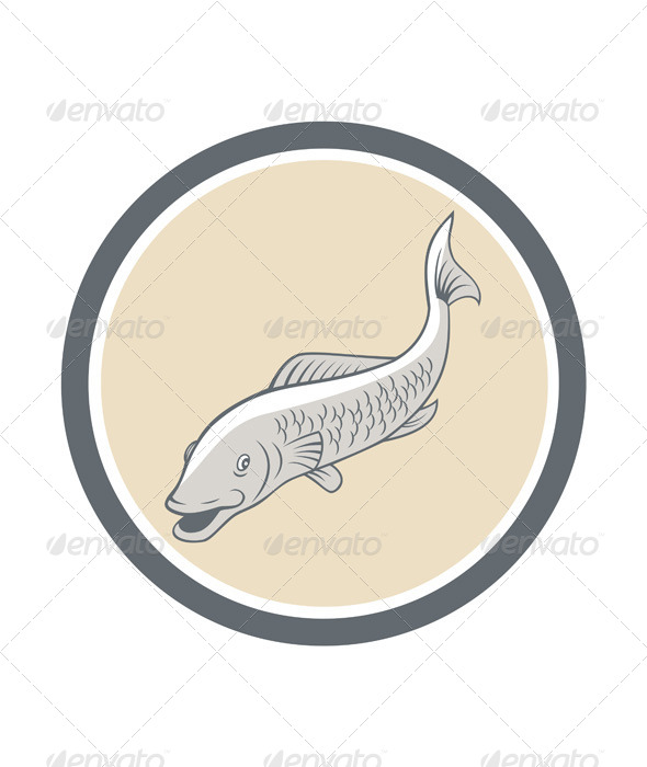 Trout Swimming Cartoon Circle - Animals Characters