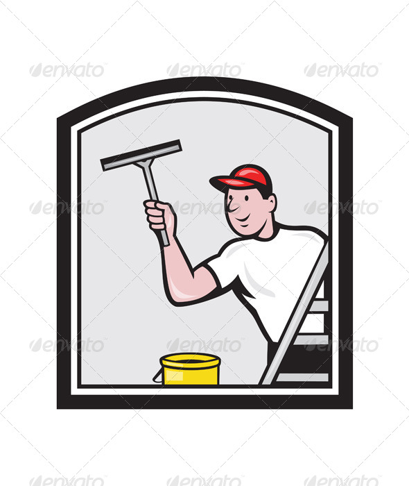 Window Washer Cleaner Cartoon - People Characters