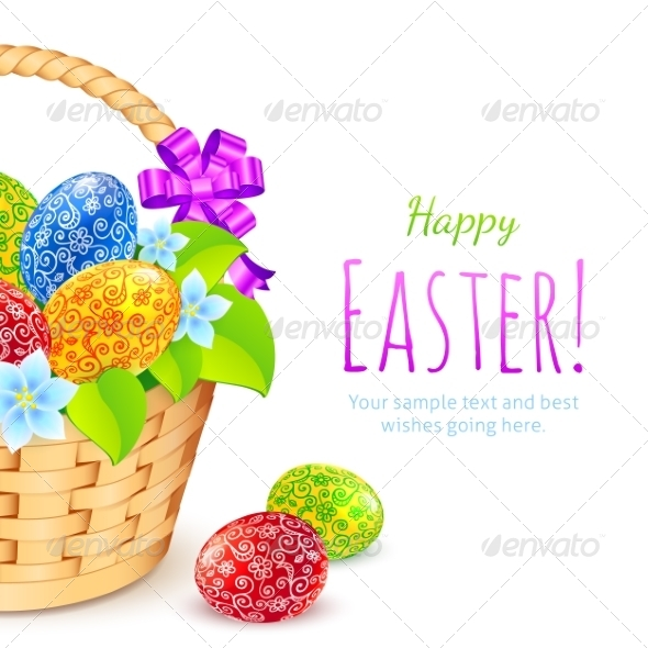 Easter Eggs with Flowers in Bucket - Miscellaneous Seasons/Holidays