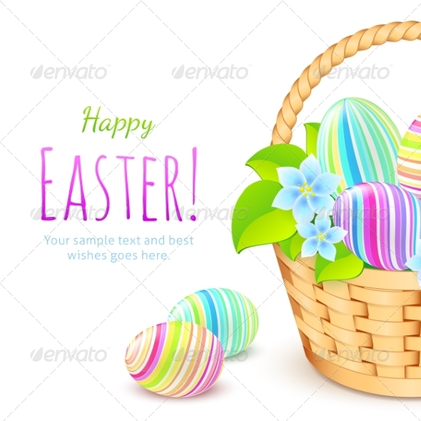 Colorful Eggs in Basket, Greeting Card Template - Miscellaneous Seasons/Holidays