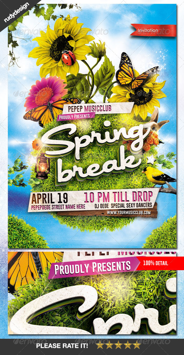 Spring Break Summer Party Flyer By Rudydesign | Graphicriver