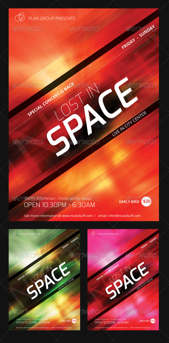 Lost in Space Flyer Set - Events Flyers