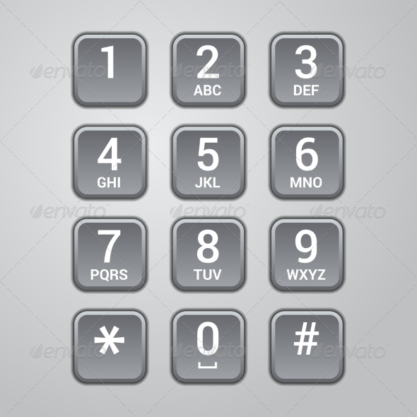 User interface keypad for phone. Vector - Communications Technology