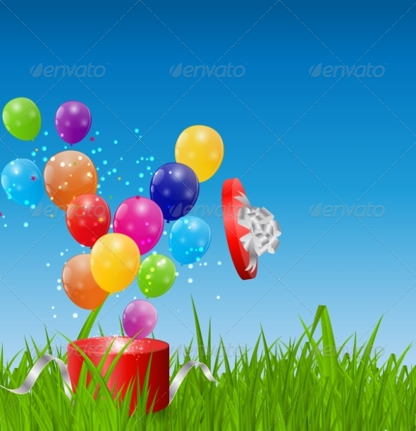 Glossy Balloons on Drass Field Vector Illustration - Landscapes Nature