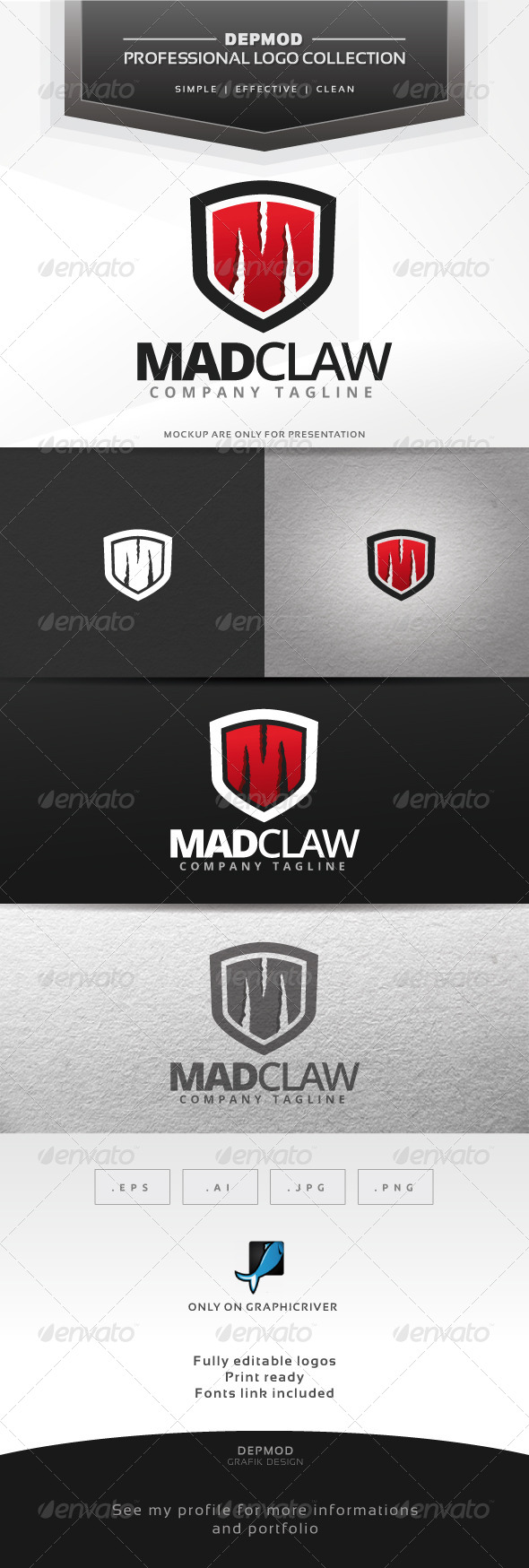 Mad Claw Logo - Letters Logo Templates