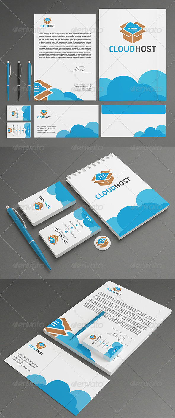 Cloud Stationery - Stationery Print Templates