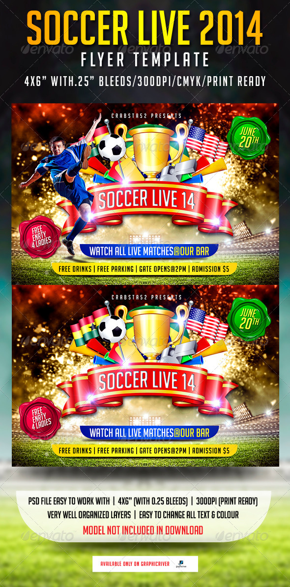 Soccer live 2014 Flyer Template - Flyers Print Templates