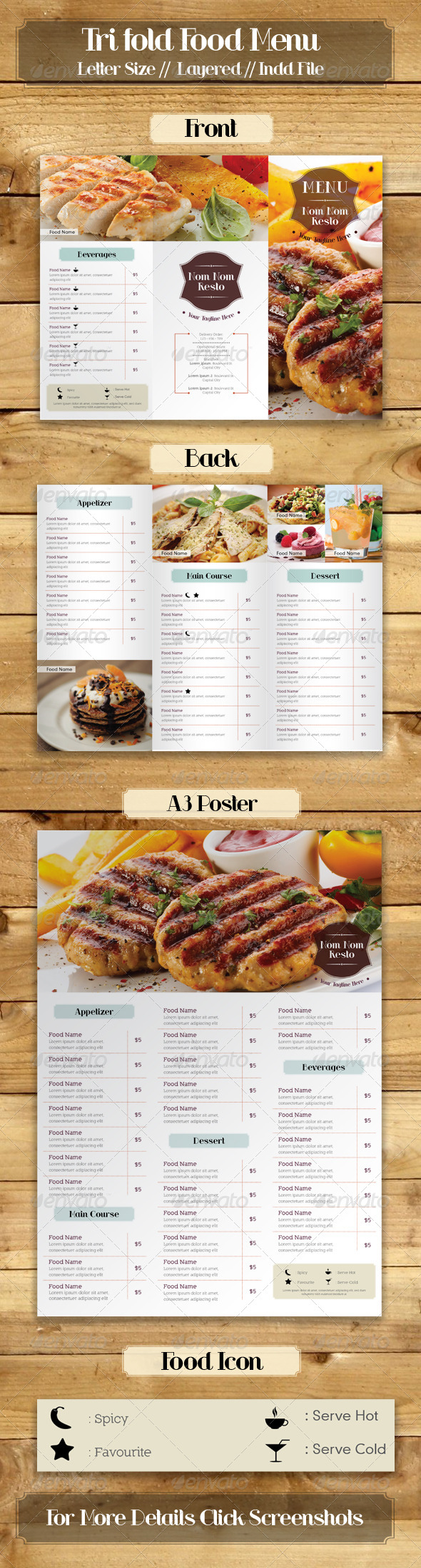Trifold Simple Food Menu - Food Menus Print Templates