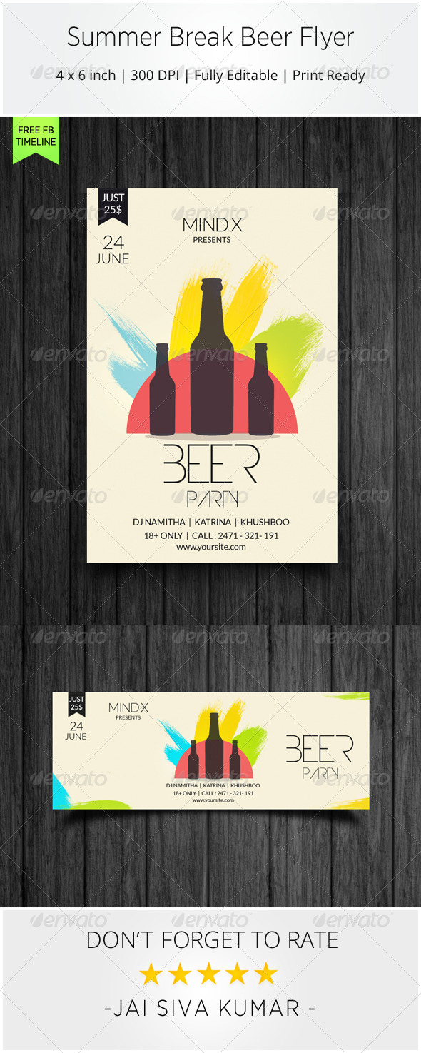 Summer Break Beer Flyer - Clubs & Parties Events
