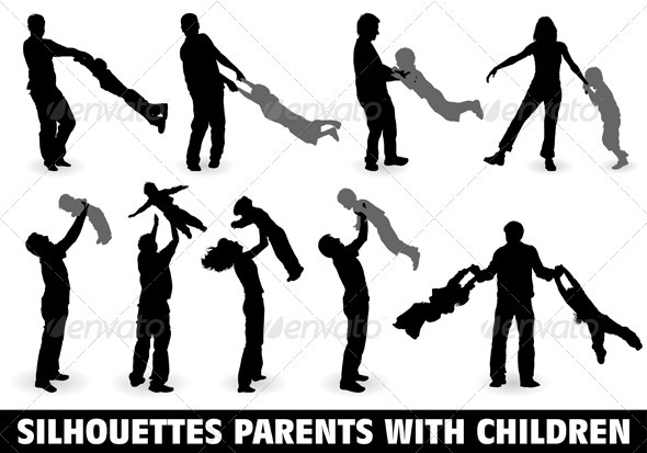 Silhouette Happy Family - People Characters