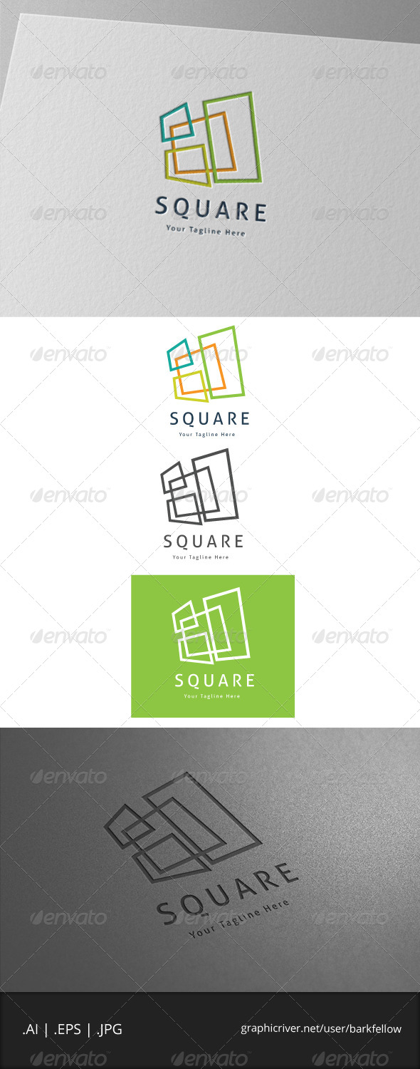 four square box logo - Buildings Logo Templates