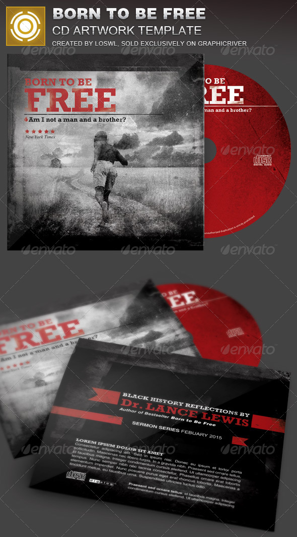Born to Be Free Black History CD Artwork Template - CD & DVD Artwork Print Templates