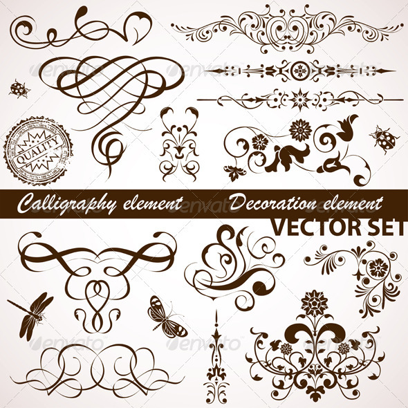Calligraphic and Floral Element - Flourishes / Swirls Decorative