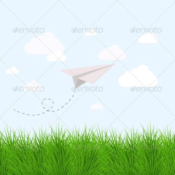 Modern Grass with Origami Airplane - Seasons Nature