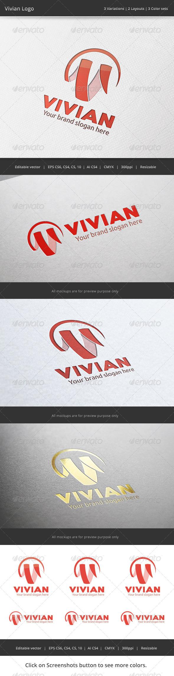 Vivian V Letter Logo - Letters Logo Templates