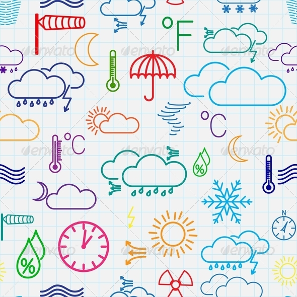Seamless Pattern of Weather Symbols - Seasons Nature