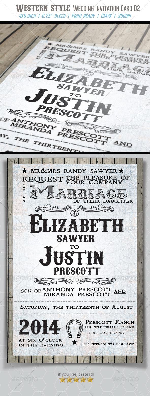 Western Style Wedding Invitation Card 02 - Weddings Cards & Invites