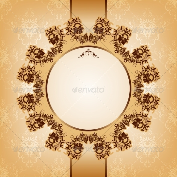 Vintage Card with Ornament - Backgrounds Decorative