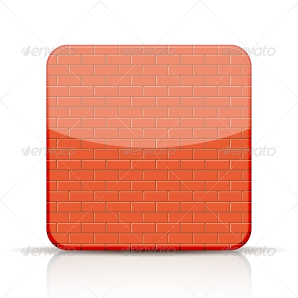 Red Brick App Icon on White Background  - Web Elements Vectors