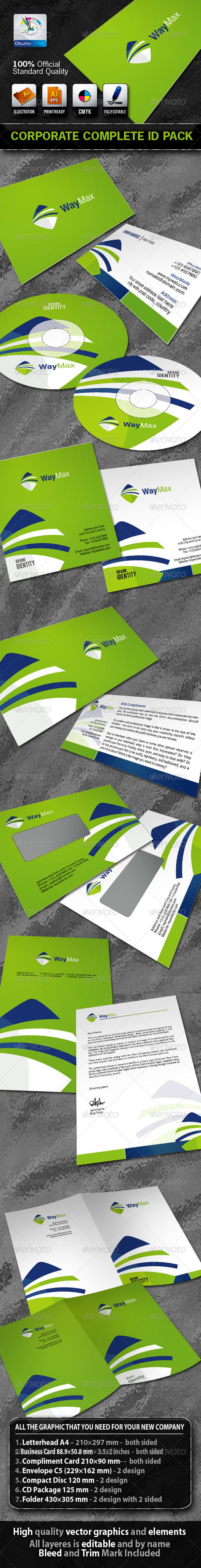 WayMax Business Corporate ID Pack With Logo - Stationery Print Templates