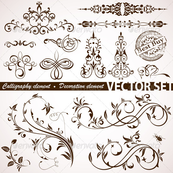 Calligraphic and Floral Element - Decorative Symbols Decorative