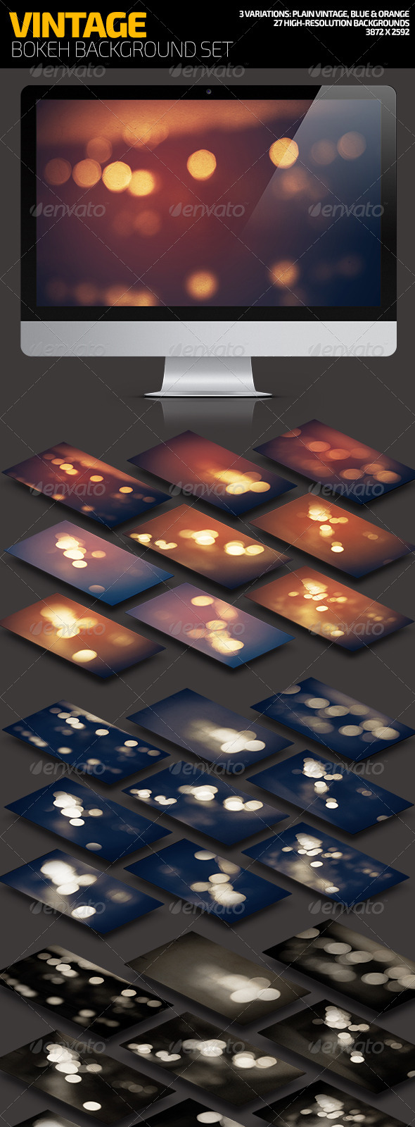 Vintage Bokeh Background Set - Backgrounds Graphics
