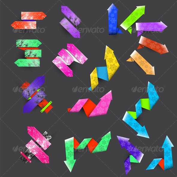Seventeen Color Textured Arrows  - Decorative Vectors