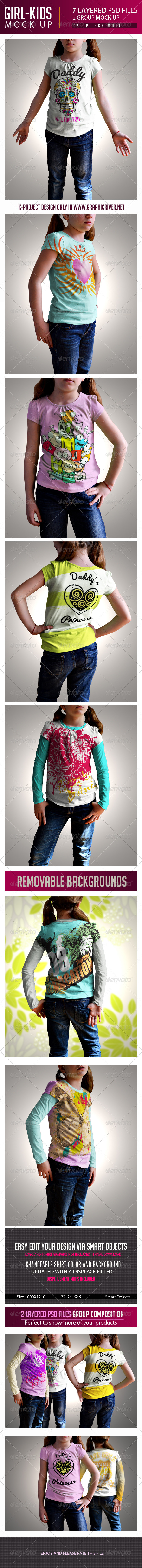 Girl Kids T-Shirt Mock Up - Product Mock-Ups Graphics