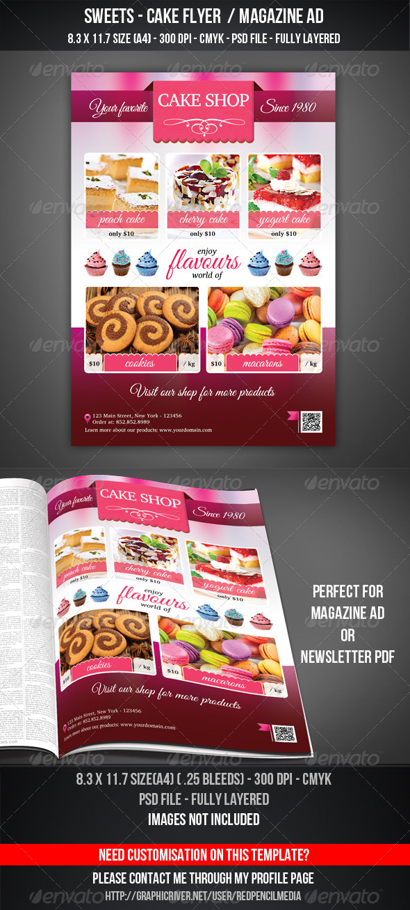 Sweets - Cake Shop Flyer / Magazine AD - Flyers Print Templates