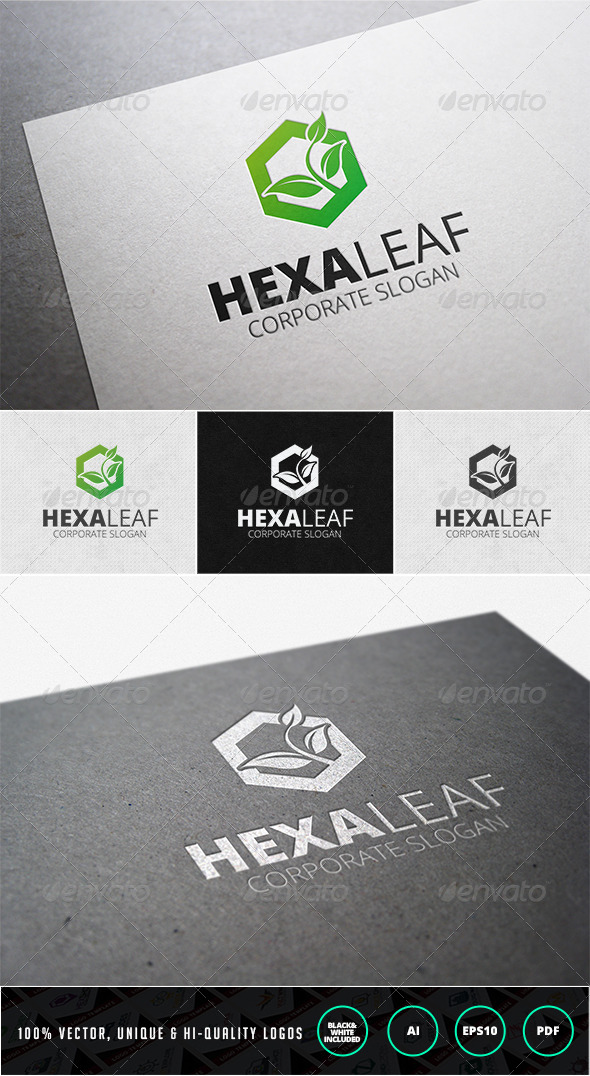 Hexa Leaf Logo Template - Nature Logo Templates