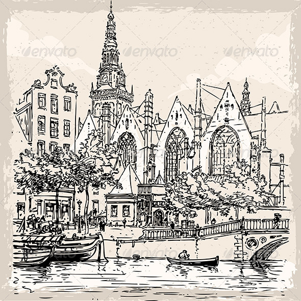 Vintage View of Old Church in Amsterdam - Buildings Objects
