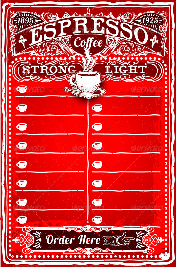 Vintage Hand Drawn Board for Espresso Menu - Food Objects
