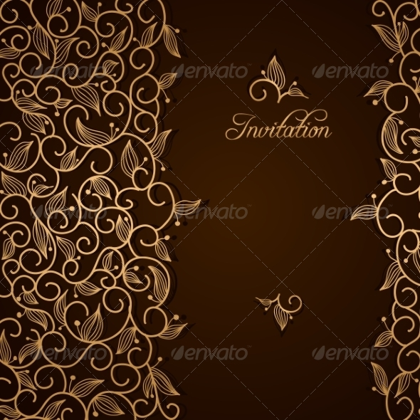 Invitation with Gold Lace Floral Ornament - Backgrounds Decorative