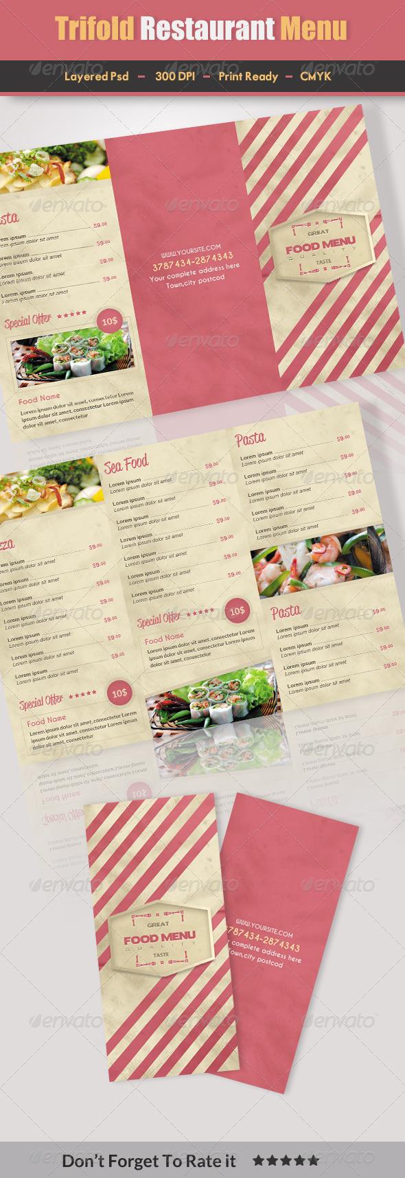 Trifold Restaurant Menu 2 - Food Menus Print Templates