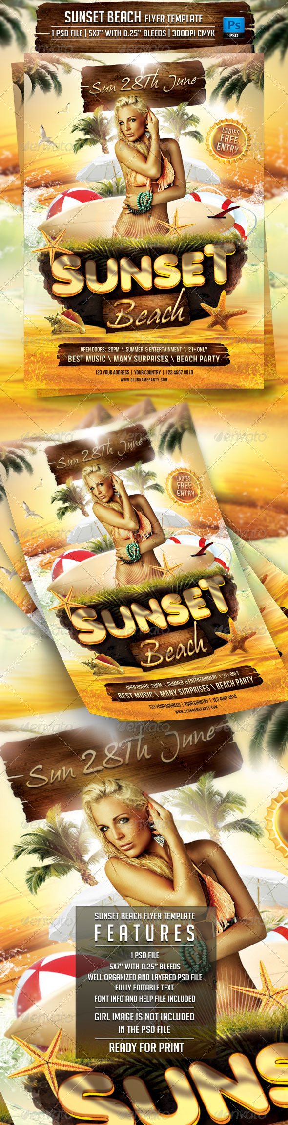 Sunset Beach Flyer Template - Clubs & Parties Events