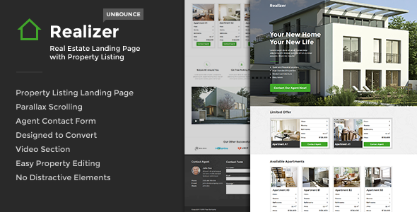 Realizer - Real Estate Landing w/ Property Listing - Unbounce Landing Pages Marketing
