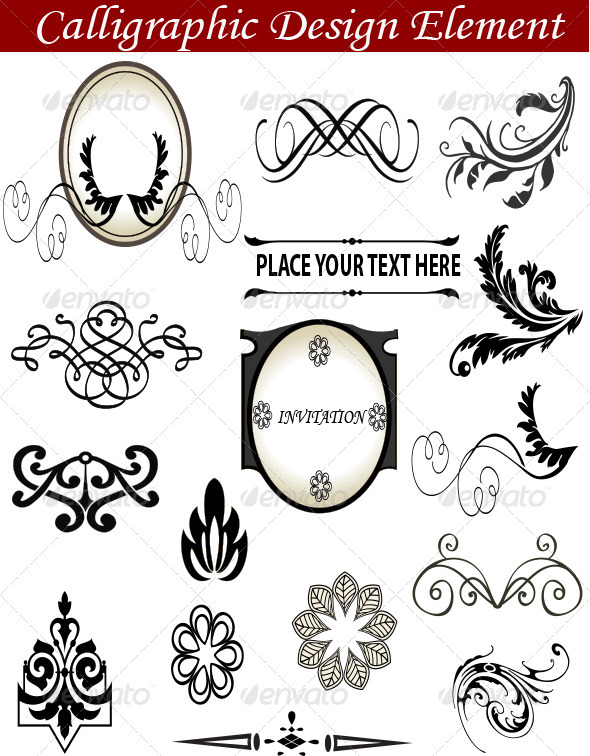 Calligraphic Design Element - Flourishes / Swirls Decorative